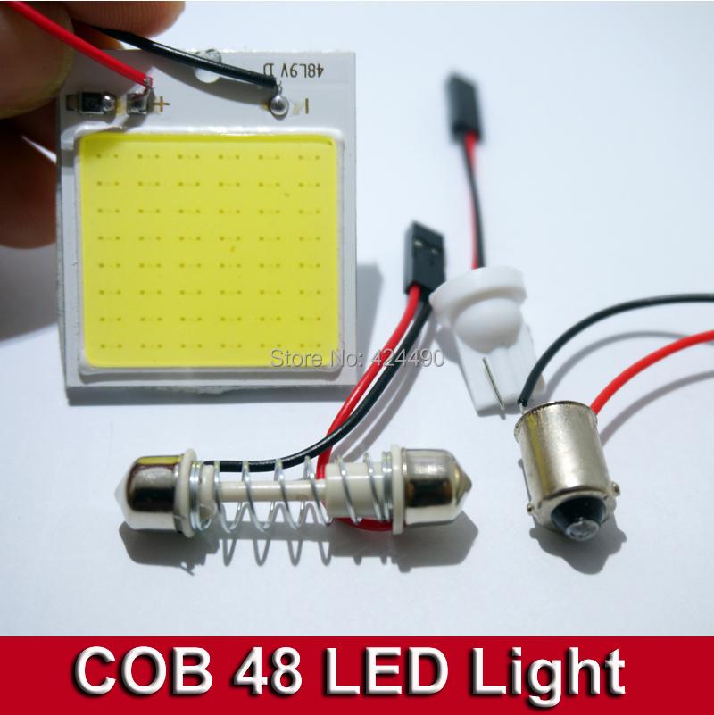 4pcs Car Vehicle LED 48 SMD COB Chip 48LED 12V DC With T10 + Festoon ba9s Socket Panel Light Interior White Bulb(China (Mainland))