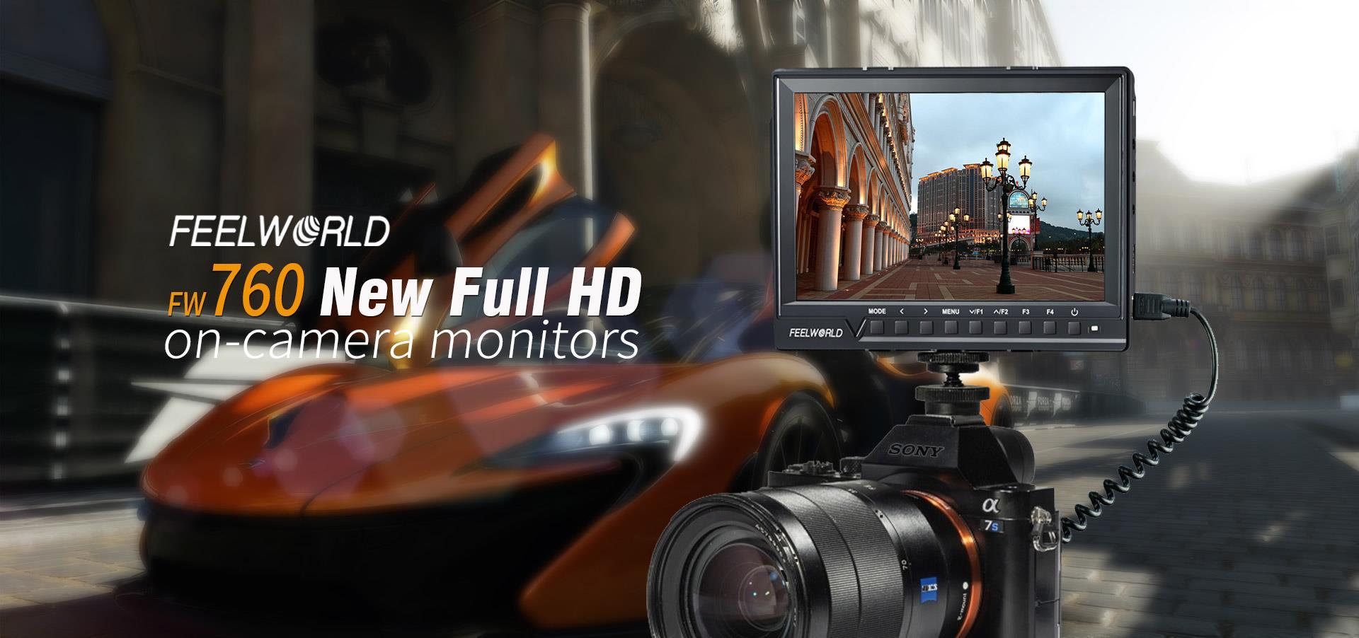 ถูก FW760 7นิ้วจอแสดงผลข้อมูลที่มีP Eakingช่วยโฟกัสHistogramม้าลายการสัมผัสFeelworld Full HD IPS DSLRกล้องด้านบนจอภาพ