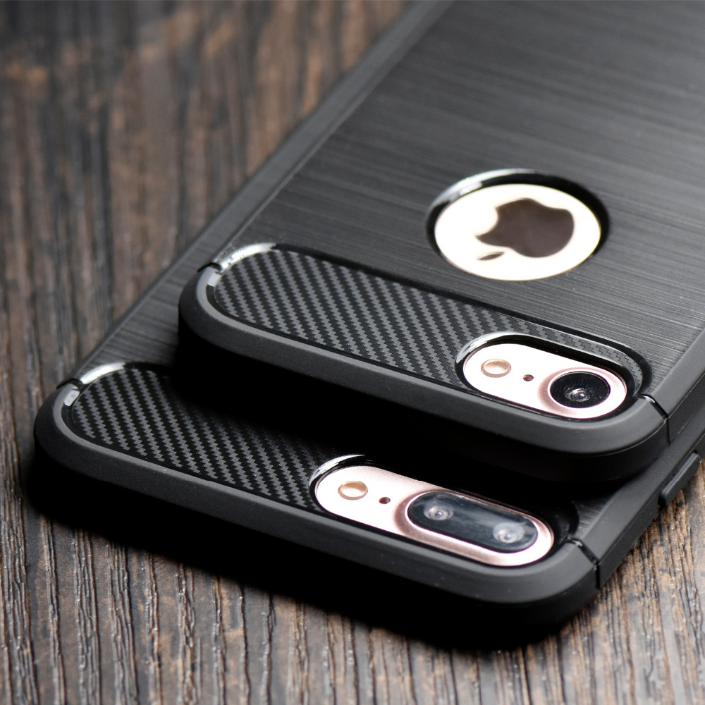 Luxury Hybrid Slim Armor Case for iPhone 7 7 Plus 6 5S SE Carbon Fiber Texture Brushed Silicone Soft Back Cover for iPhone 6s