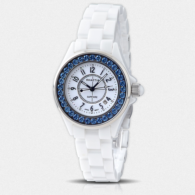 New arrival rhaetia ceramic table ladies watch blue diamond 200 meters waterproof women's watch Women