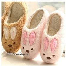 New Winter Plush Cotton Slippers For Men And Women Home Cute Bunny With Soft-Sole Shoes, Lovers Slippers(China (Mainland))