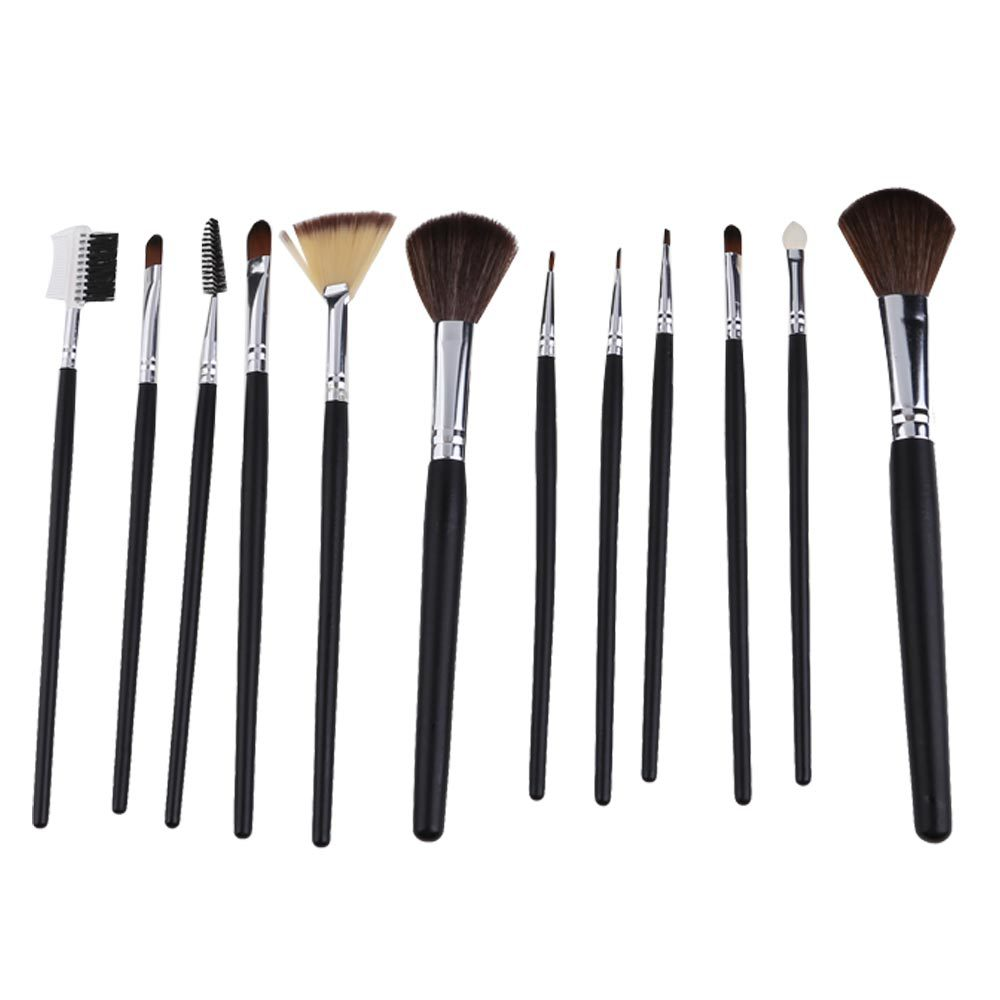 2014 Hot Sell Set of 12PCS Black Makeup Cosmetic Eyeshadow Eyeliner Powder Blusher Brush Kit Free