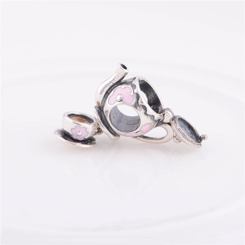 Teapot with cup enamel charms  fits sterling silver 925 love bracelet charms alibaba  GW fine jewelry YZ489