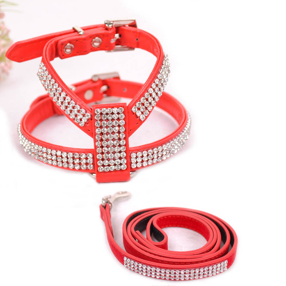 (1 harness+1 leash) Pet Dog Harness Leash for Walking Safety Strap for Chihuahua Teddy Poodle PU Leather Dog Collar Accessories(China (Mainland))