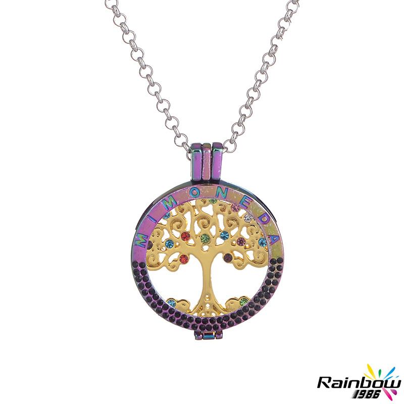 Love Long Necklace Lucky Coin My Coin Half Circle Drill Colorful Border CZ Diamond Gold Tree of Life Pendant Necklace for Women(China (Mainland))
