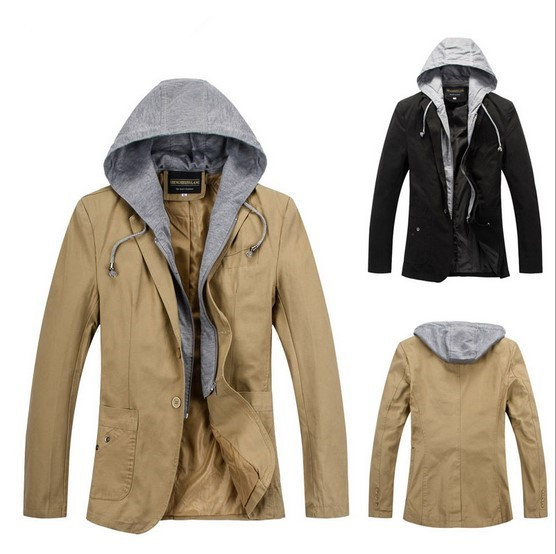 New 2015 Men's Hooded Casual Slim Blazer Single Breasted Hoodie Coats Fashion Male Classic Designer Suits Black Khaki XXXL(China (Mainland))