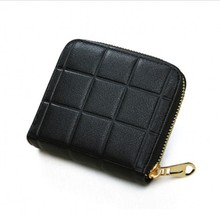 Coin Purses short women wallet Card holders Mini Small Purse Black Plaid Zipper Coin bag Girl student Pink Clutch wallet