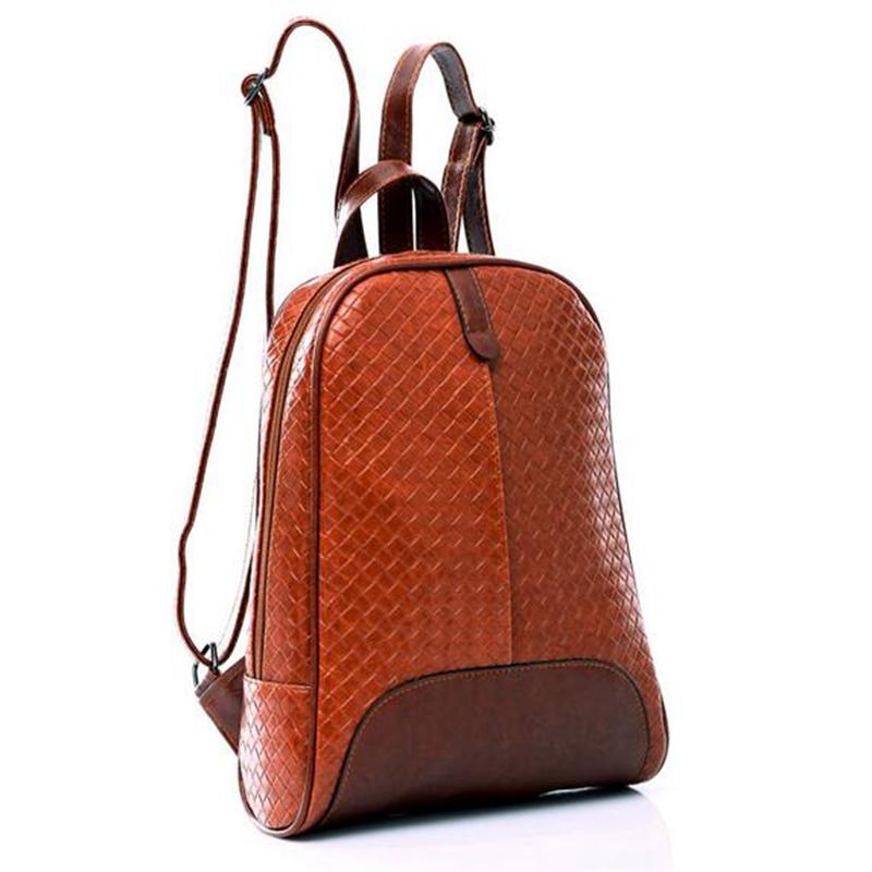 2015 Fashion Preppy Style Genuine Leather School College Travel Schoolbags Mochila Lattice Rucksack Girl Gift(China (Mainland))