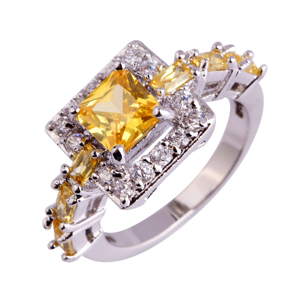 aliexpress buy gorgeous jewelry princess cut citrine