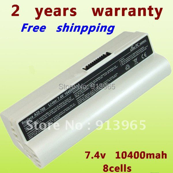 white 8CELL Laptop Battery For Asus Eee PC 700 701 701C S9 801 900 P22-900 4G Surf Linux(China (Mainland))