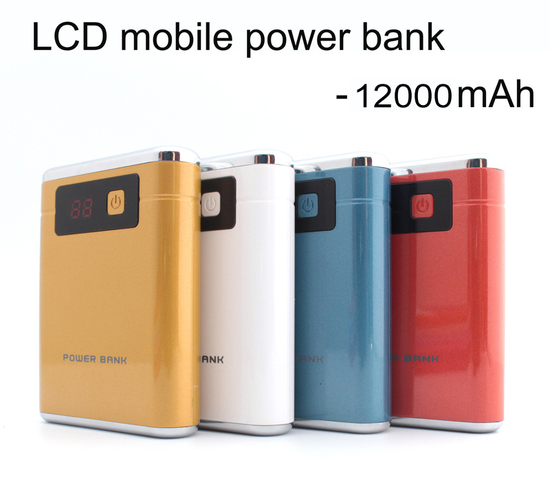 Portable 12000mAh Dual USB Power Bank LCD 2 LED Battery Charger For original xiaomi iphone5s 6(China (Mainland))