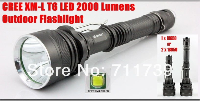 X6 CREE T6 LED 2000lm 5 Modes Outdoor self-defense Hunting LED Flashlight Torch(1 x18650 or 2 x18650)-Free Shipping<br><br>Aliexpress