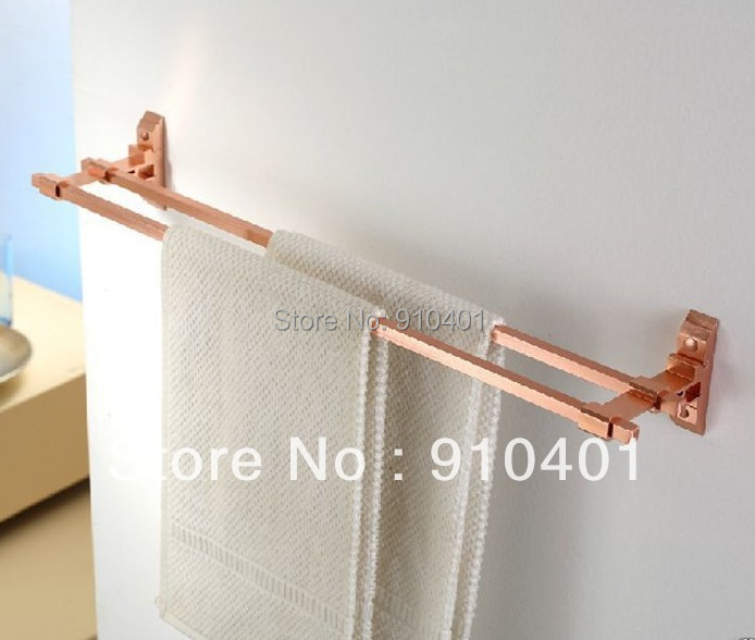 Фотография Hot Sale Wholesale And Retail Promotion Luxury Bathroom Aluminium Red Color Wall Mounted Towel Racks Dual Towel Holder