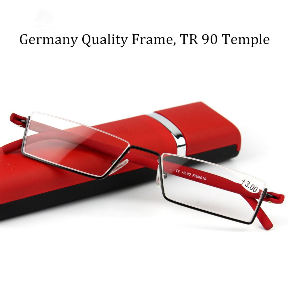 Patent Eye Glasses Slim Metal Frame with TR 90 Temple Read Glasses Quality Eyewear Female and Male Reading Glasses with Case(China (Mainland))