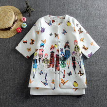 2016 Spring Girls Jacket Clothing Sets Floral Butterfly Girl Dress Sets Brand Dobby Gilrs Kids Tracksuit Coat Dress Set  D010