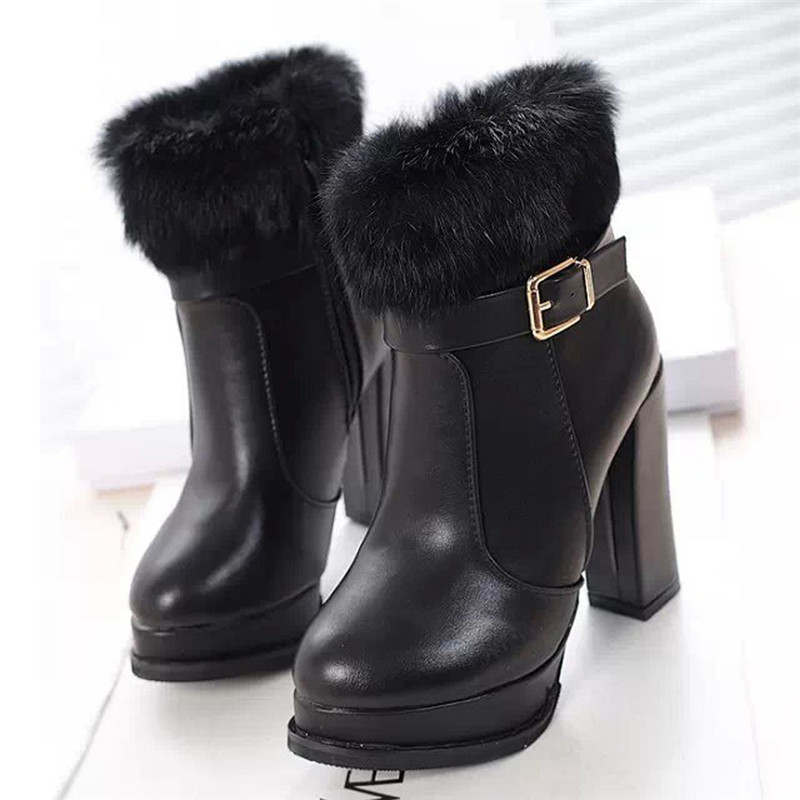 Hot Australia Classic New Luxury Brand Fashion PU Leather Shoes Women Boots Designer Tall High Heels Fur Winter Snow Boots 609(China (Mainland))