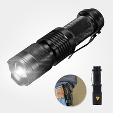 High-quality Mini Black 2000LM Waterproof LED Flashlight 3 Modes Zoomable LED Torch Penlight Free Shipping