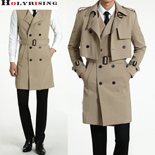 S-6XL 2016 2Pcs/Set Men Trench coat (Long Vest+Small Coats ) Casual Solid Double Breasted Slim Fit Overcoat Beige Dark Blue(China (Mainland))