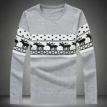 Large size men's M-5XL winter new men's fashion trend of small Christmas sweater round neck thick sweater color Luzhuang