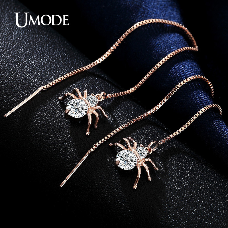 PrePiece Spider Shaped Round Cut Clear CZ Gold Plated Simulated Diamond Dangle Earrings Long Jewelry for Women Brincos PUE0175(China (Mainland))