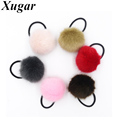 Pretty Girls Artificial Rabbit Pompom Elastic Hair Band For Ponytail Holder Women Boutique Hair Accessories