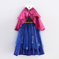 2015 Frozene Anna Princess Dress Christmas Children Clothing Girls Long sleeve Dresses and Red Cloak Baby