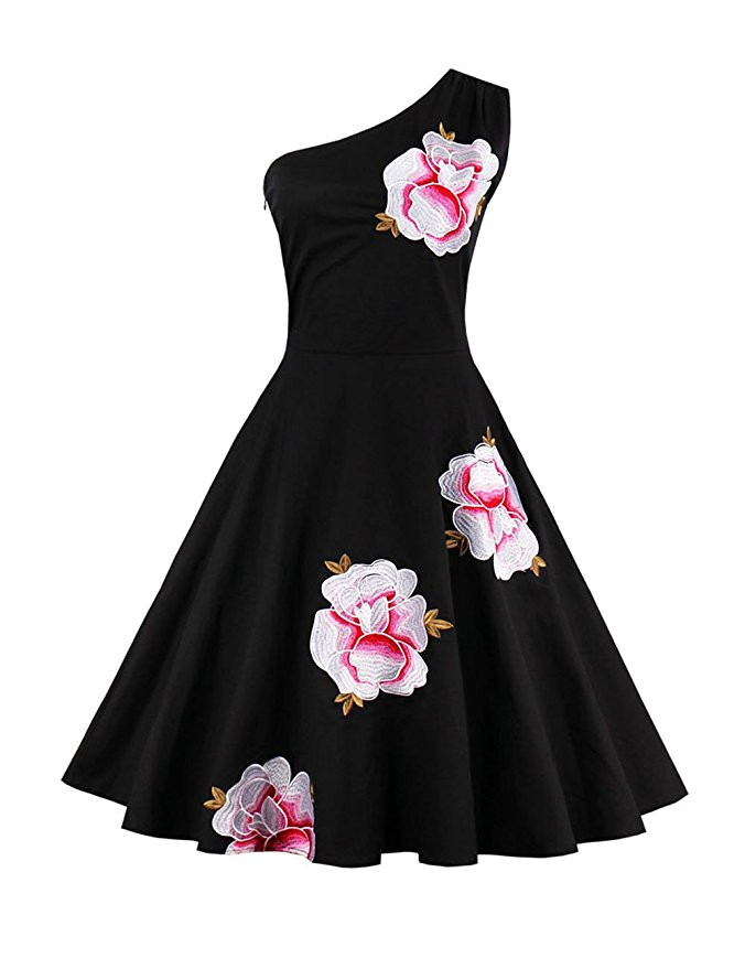 Women's Luxury Audrey Hepburn 1950s Vintage Elegant One Shoulder Embroidery Floral Swing Dress Tea Party Cocktail Retro Gowns(China (Mainland))