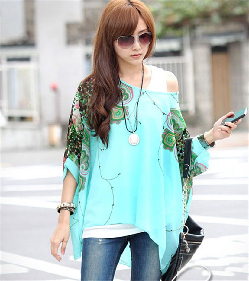 Hot Marketing Large Size 1PC Bohemia Women Floral Batwing Chiffon Loose T-Shirt Top WJul6(China (Mainland))