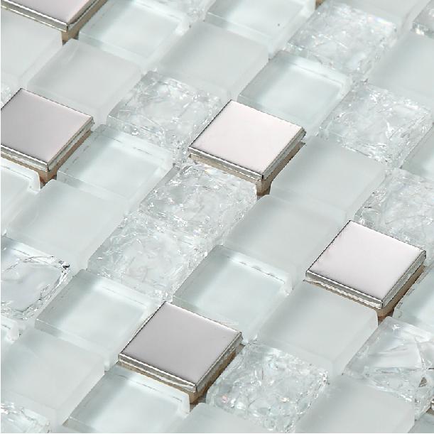 Гаджет  2014 new silver crackle white glass tile backsplash kitchen stainless steel bathroom mosaic tile backsplash mirror shower tiles None Строительство и Недвижимость