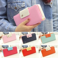 L155 Free Shipping New Women PU Leather Buckle Long Purse Clutch Cute Button Wallet Bag Card Holder