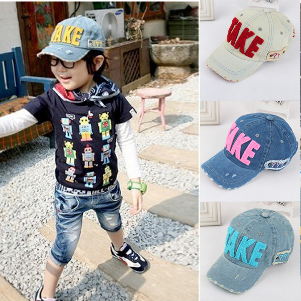 Fashion Embroidery Children Baseball Caps, Baby Boys Girl Denim Baseball Cap,Kids Summer Mesh Sun Hat(China (Mainland))