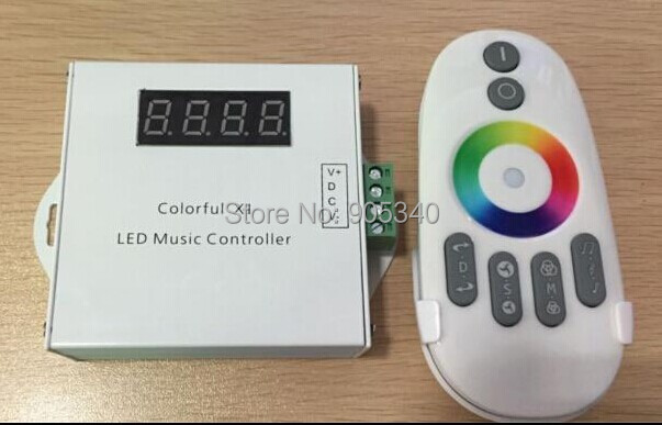 New Colorful Led Music Controller DC12V Max 18A With Remote Controller For 5050 RGB Led Strip Light free shipping(China (Mainland))