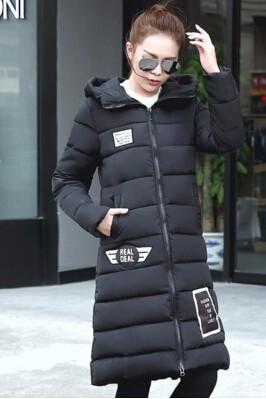 Скидки на 2017 Зима Женщины Ватные Куртки Пальто Плюс Размер С Капюшоном Длинные вниз Хлопка Верхняя Одежда Письмо Печати Толстая Повседневная Теплая Куртка M-3XL куртка