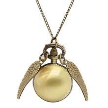 New Harry Potter Necklace 2016 Popular Drop Fine Jewelry Angel Wing Charm Golden Snitch Pocket Watch Men Vintage