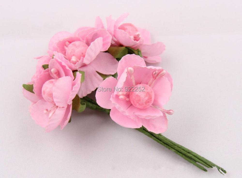 Mini seda buquê de flores artificiais flor de cerejeira branches