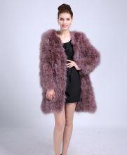 Ostrich Material Women's Coat Soft Four Colors Choice Female Accessories Fur Female 90 CM Length Suit For Young Trendy DS1006-1