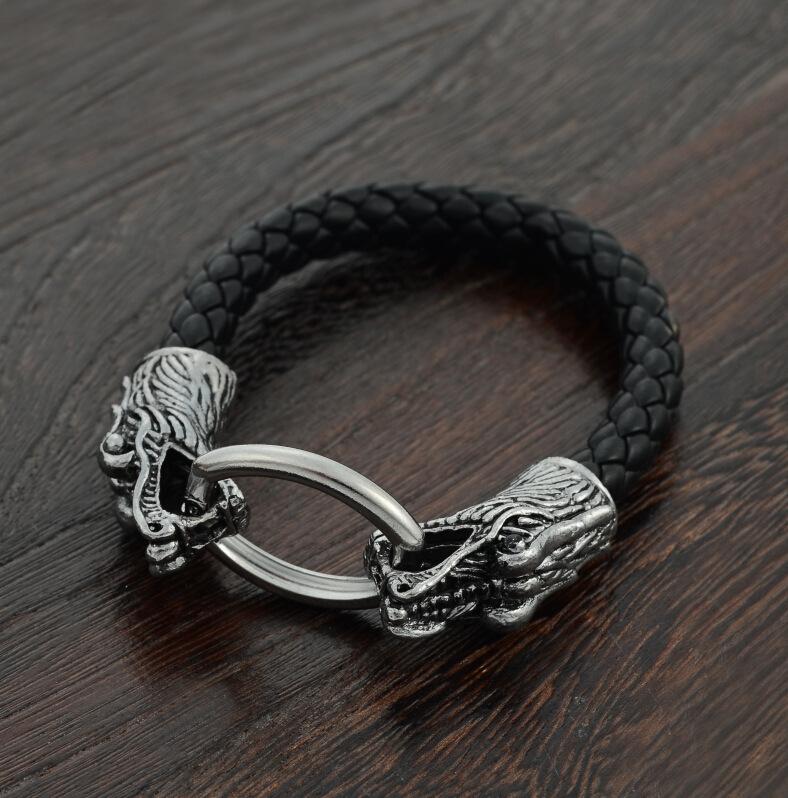 Hot sale leather Tibetan silver men bracelet titanium fashion male vintage accessories parataxis dragon bracelet men