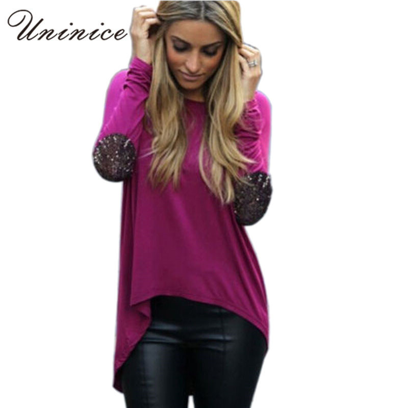 2015 New Fashion Women summer style Ladies Casual Long Sleeve Patchwork Crewneck Loose Sexy T Shirt Tops 4E1312(China (Mainland))