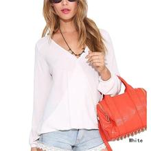 Buy 2017 New Summer Womens Tops Blouses Deep V-Neck Women Blouses Chiffon Shirts Long Sleeve Tops Black White Red Chiffon Shirt for $6.04 in AliExpress store