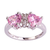 lingmei Wholesale Heart Cut Pink & White Topaz Silver Ring Size 7 8 9 10 Fashion Popular Love Style Women Gift Free Shipping