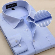 2016 New casual long sleeve twill men dress shirts slim fit fromal mens work shirts striped male shirts Plus size(China (Mainland))
