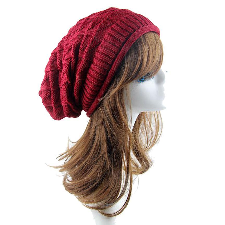 Dec 2 Amazing 2016 New Fashion Women Knit Baggy Beanie Hat Winter Casual Warm Ski Cap High Quality(China (Mainland))