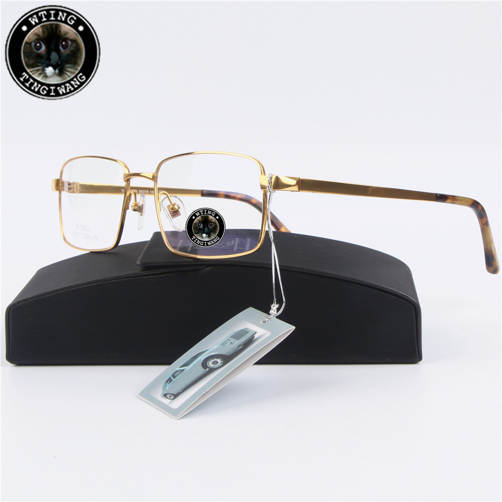 Authentic Men Business 100% Titanium alloy glasses frame Full Rim optical myopia Eyewear prescription clean lens Eyeglasses(China (Mainland))