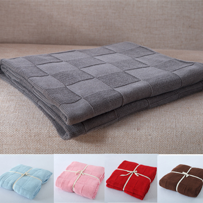 Full Size 180x200cm knitted Cotton blanket,Grey Color Blankets,100% Cotton Square Design Knitted Men blanket on Bed, 9 Colors(China (Mainland))
