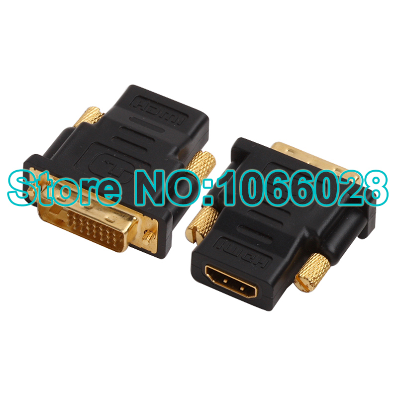Free shipping 10 pcs HDMI Female to DVI (24+1) pin Male adapter Gold-Plated M-F Converter wholesale(China (Mainland))