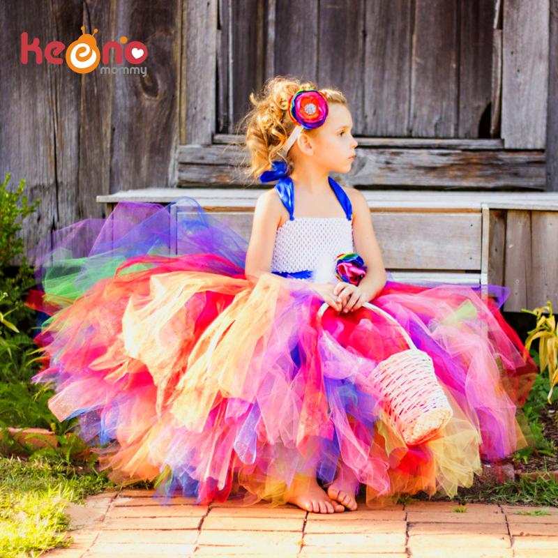 Keenomommy Candy Rainbow Flower Girls Tutu Dress for Birthday Photo Wedding Kids Halloween Christmas Costume TS052(China (Mainland))