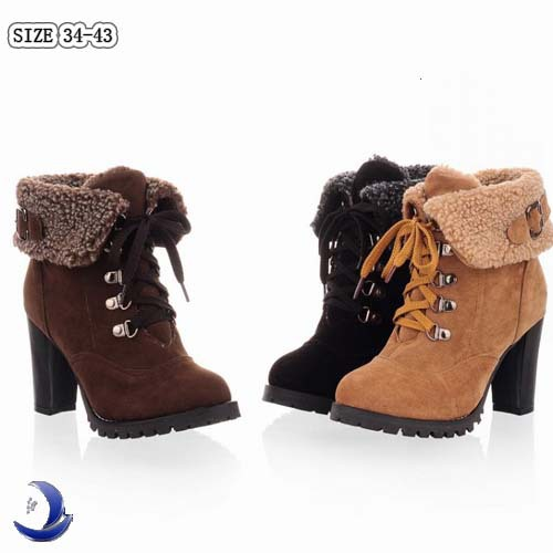 New Hot Fashion Women's Ankle Boots High Heels Lace up Snow Boots Platform Pumps keep warm Big size 34-43(China (Mainland))