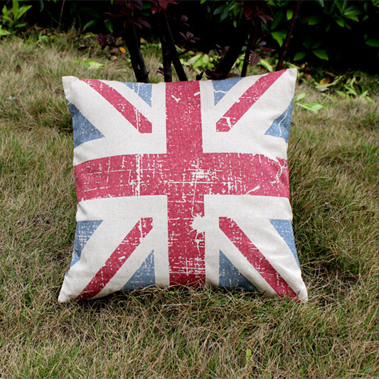 new arrival wholesale printed multicolor union jack cotton linen cushions cover throw pillows cover sofa chair bed 18*18''(China (Mainland))