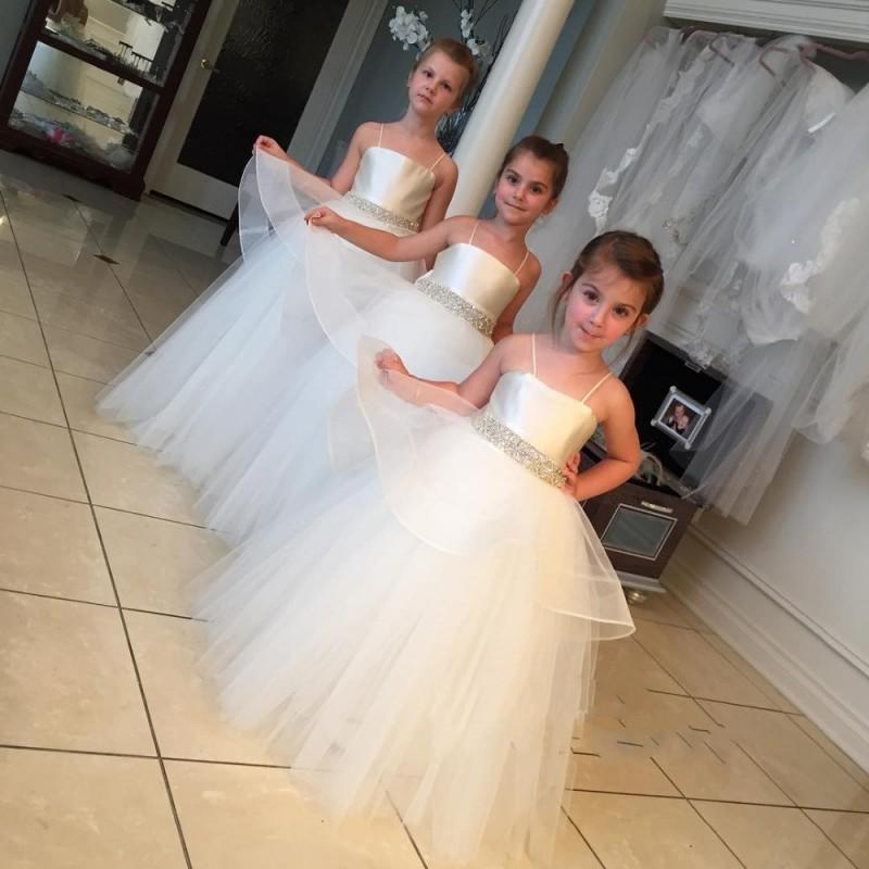 Shiny Crystal Sashes Pageant dresses little girls 2016 Lovely White Flower girl Custom Made Cheap - FLD Wedding Dresses store