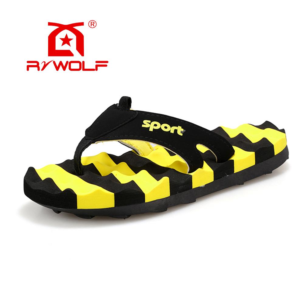 RZWOLF 2016 summer casual flip flops striped massage PU rubber sole fashion slipper for men(China (Mainland))